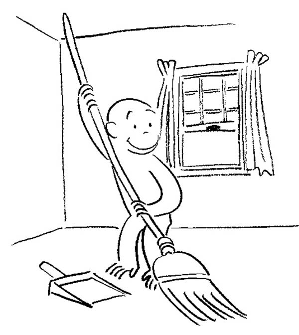 Curious George Moping the House Coloring Page