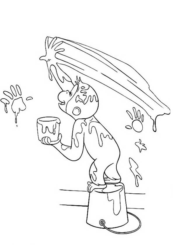 Curious George Paint with His Bare Hand Coloring Page - NetArt