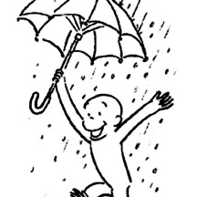 Curious George Play in the Rain Coloring Page