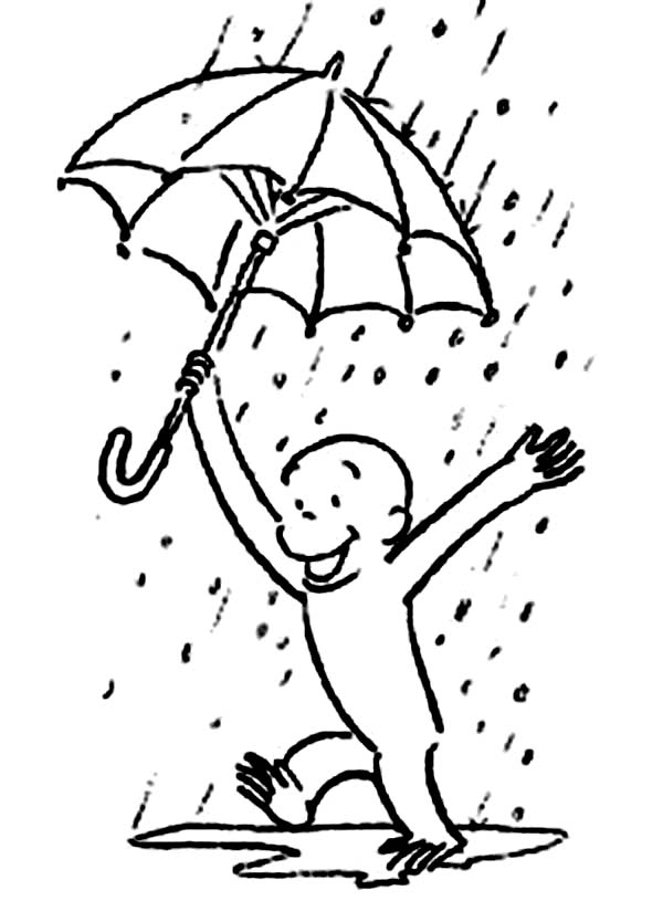 Curious George Play in the Rain Coloring Page NetArt