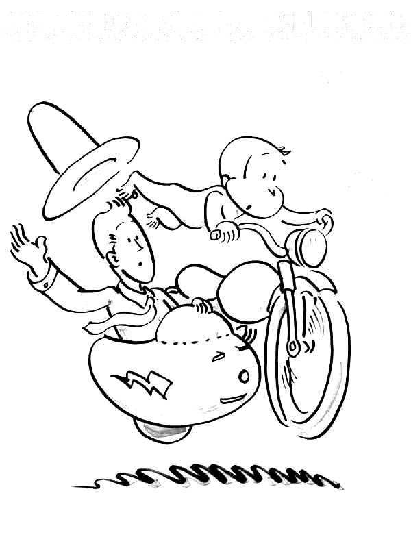 curious george ride a bike coloring page - Coloring Pages Curious George