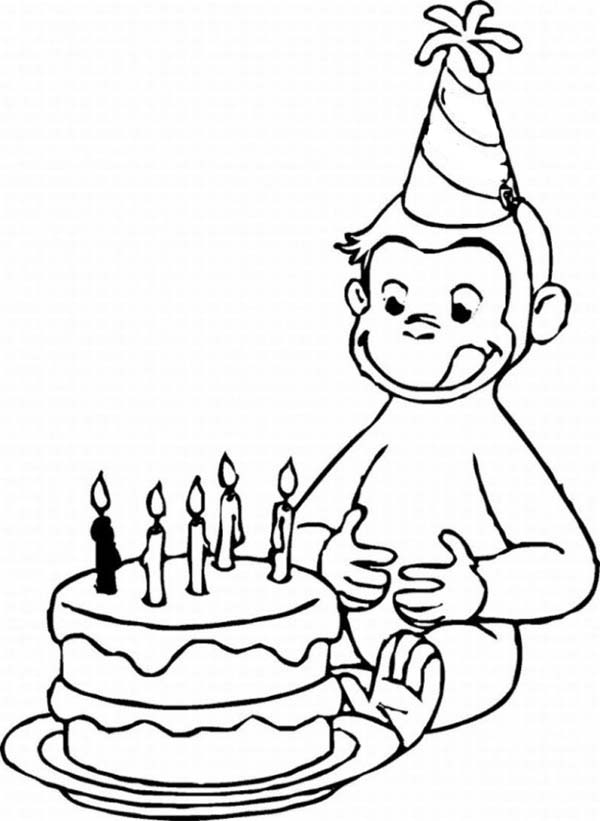 Curious george and birthday cake coloring page netart for Curious george printable coloring pages