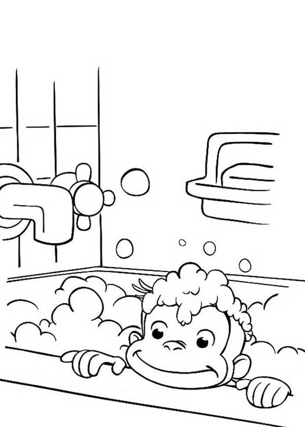 Curious George in Bathtub Coloring Page - NetArt