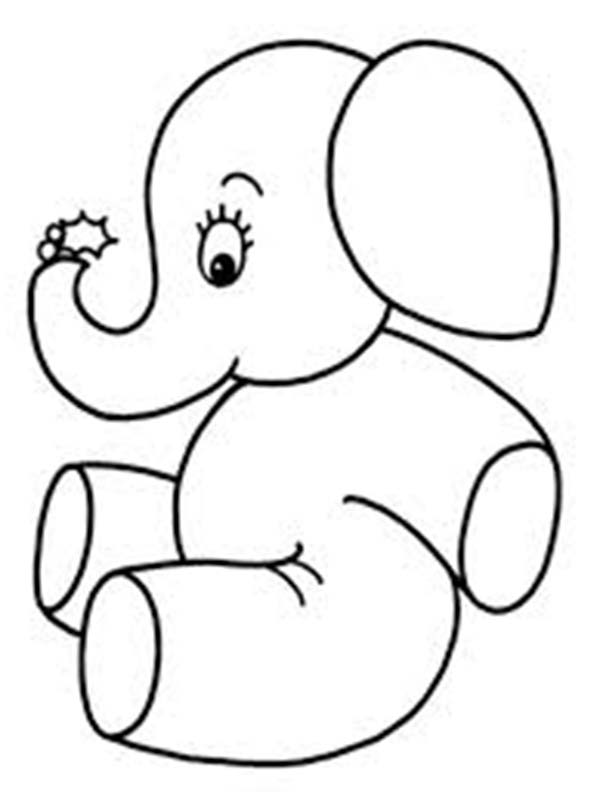 Cute little elephant coloring page netart for Cute elephant coloring pages