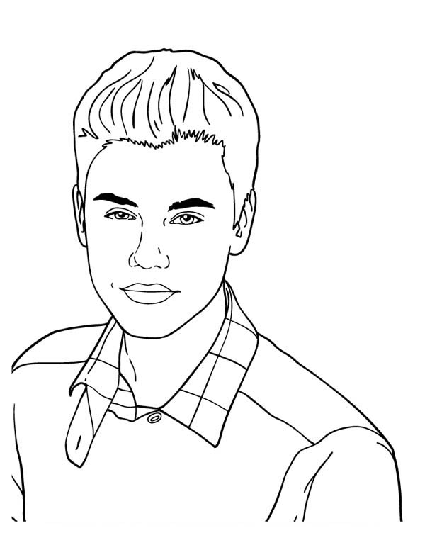 Cute Music Icon Justin Bieber Coloring Page - NetArt