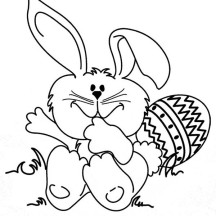 Cute Rabbit and Easter Egg Coloring Page