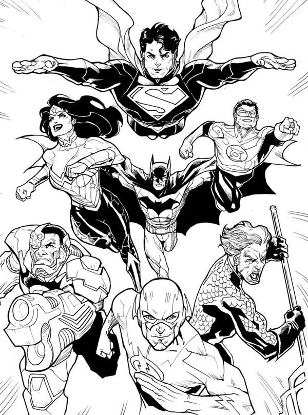 DC Comic Justice League Coloring Page NetArt
