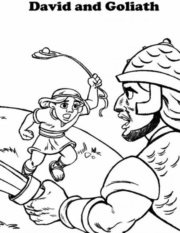 David And Goliath Coloring Pages Fascinating David Fight Goliath In The Bible Heroes Coloring Page  Netart Design Inspiration