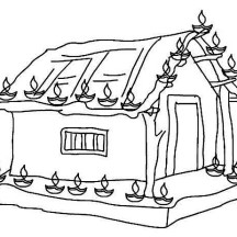 Decorate House with Clay Lamps on Diwali Day Coloring Page