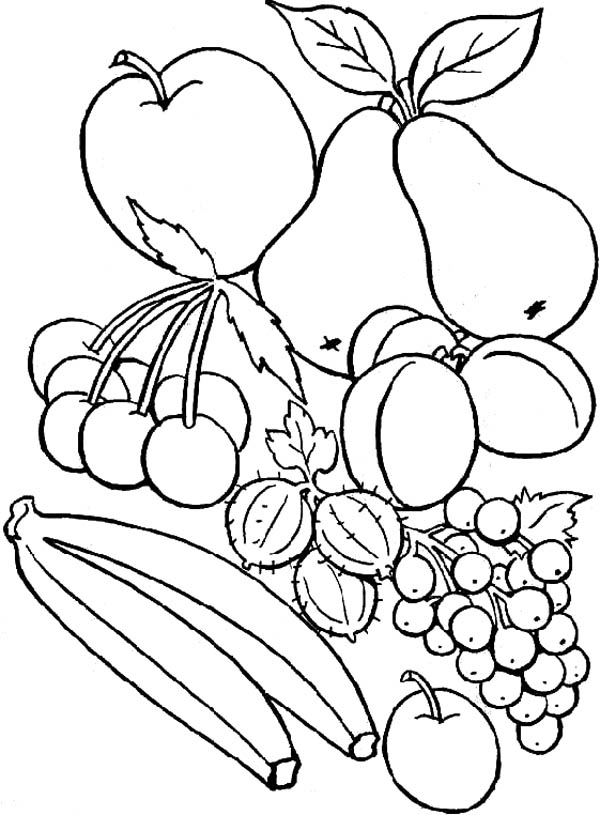Delicious Fruit Coloring Page