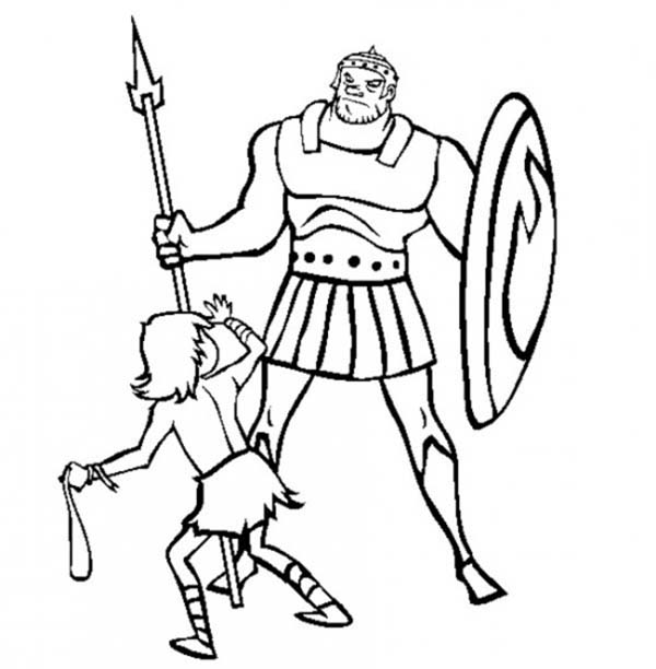 Depiction of David versus Goliath