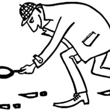 Detective Following Foot Print Coloring Page