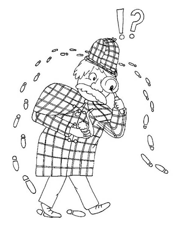 Detective Following His Own Foot Step Coloring Page