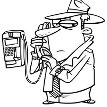 Detective Make Phone Call Coloring Page