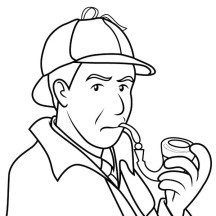 Detective Sherlock Holmes Smoking Pipe Coloring Page