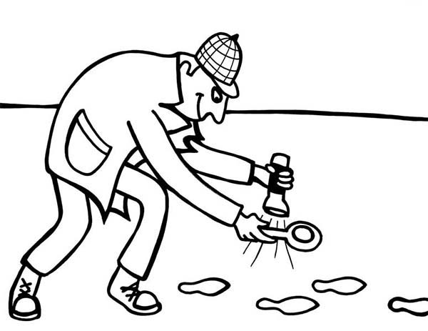 Detective Using Flash Light Following Foot Print Coloring Page