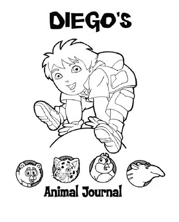 Diego Animal Journal in Go Diego Go Coloring Page