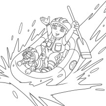 Diego Going Rafting with Baby Jaguar in Go Diego Go Coloring Page