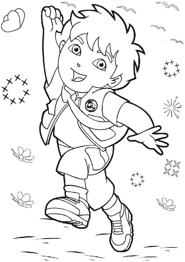 Diego Jump Reach the Sky in Go Diego Go Coloring Page