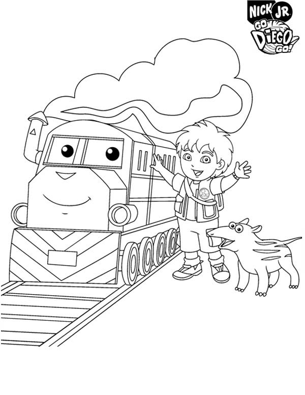 Diego Meet the Train in Go Diego Go Coloring Page - NetArt