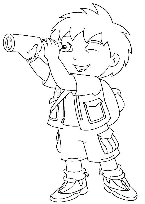 Diego Observe with Telescope in Go Diego Go Coloring Page NetArt