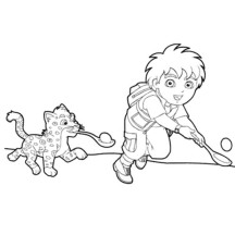 Diego Play with Baby Jaguar in Go Diego Go Coloring Page
