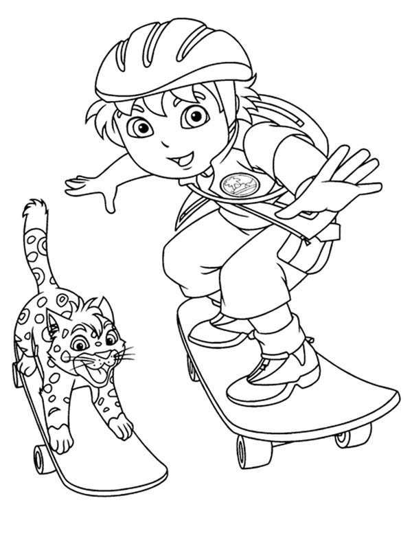 Diego Skating with Baby Jaguar in Go Diego Go Coloring Page
