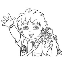 Diego and Baby Jaguar Coloring Page