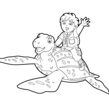 Diego and His Friend Turtle in Go Diego Go Coloring Page