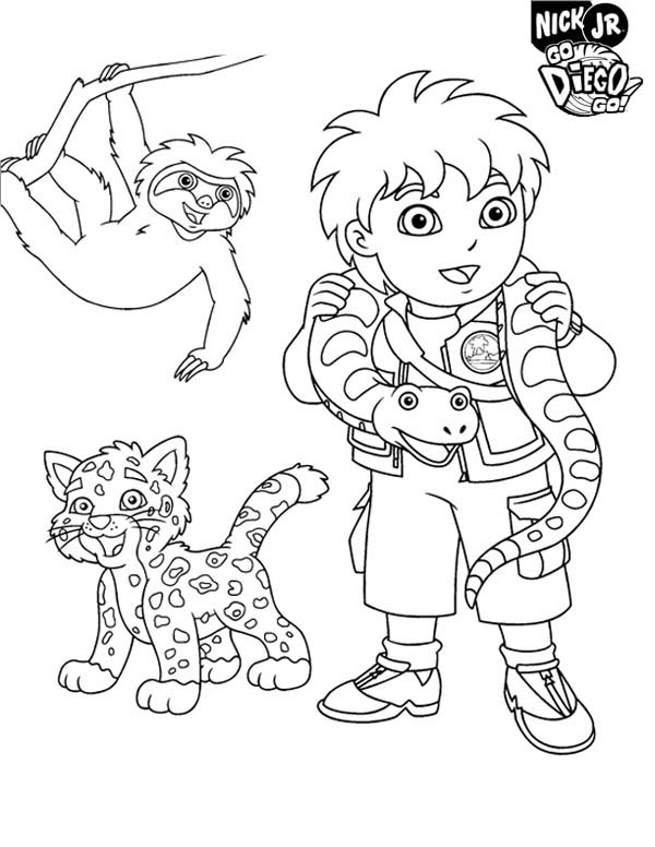 Diego and Protected Animal in Go Diego Go Coloring Page - NetArt