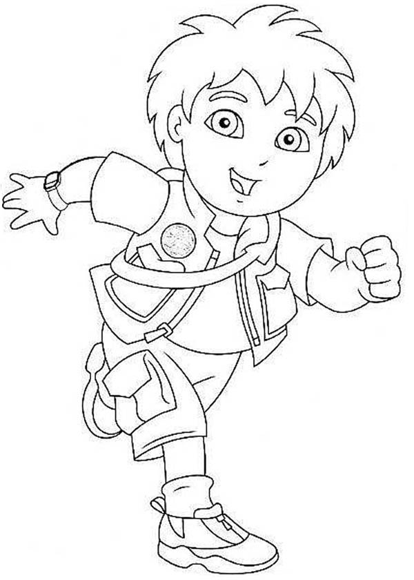 Diego in Good Spirit in Go Diego Go Coloring Page