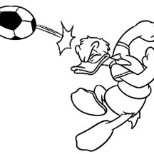 Donald Duck Playing Foot Ball Coloring Pages