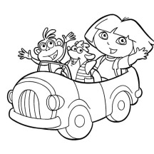 Dora Boots and Swiper Ride a Car in Dora the Explorer Coloring Page