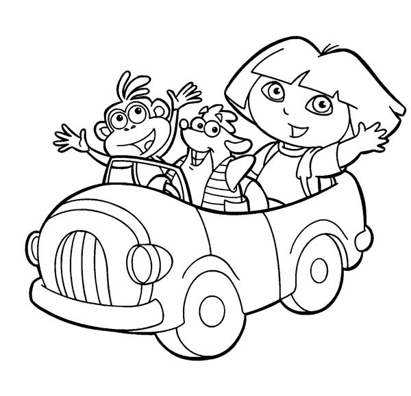 Dora And Boots Coloring Pages Dora Boots And Swiper Ride A Car In Dora The Explorer Coloring .