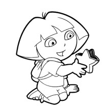 Dora Holding Star in Dora the Explorer Coloring Page