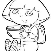 Dora Like to Read in Dora the Explorer Coloring Page