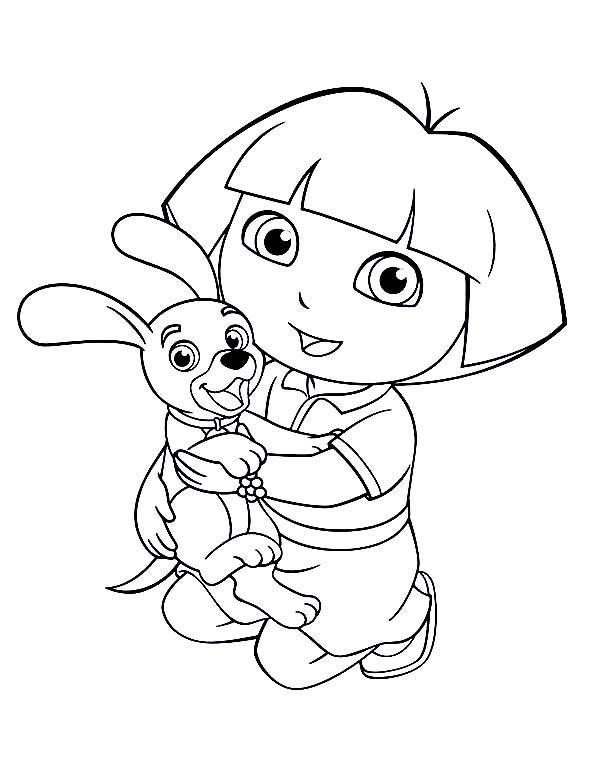 Dora Love Her Dog in Dora the Explorer Coloring Page
