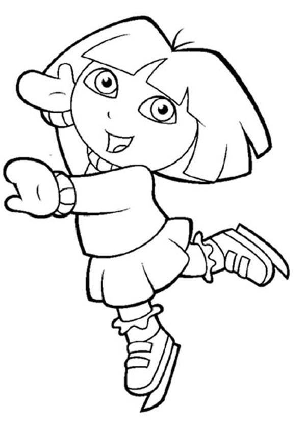 explorer coloring pages - dora play ice skating in dora the explorer coloring page