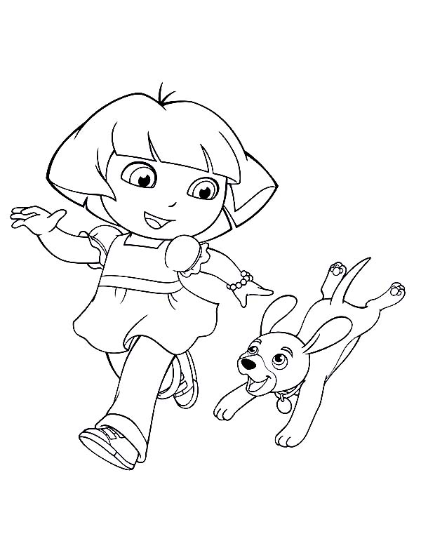 dora walking her dog in dora the explorer coloring page - Dora The Explorer Coloring Pages