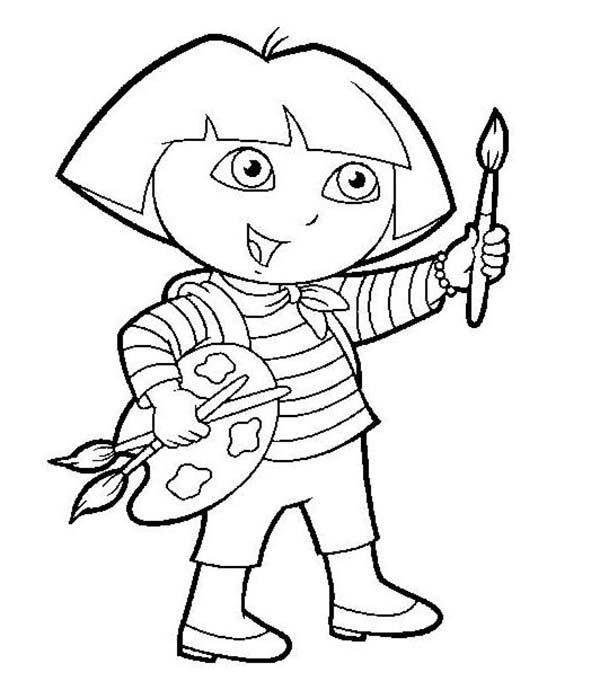 dora want to paint in dora the explorer coloring page - Paint Coloring