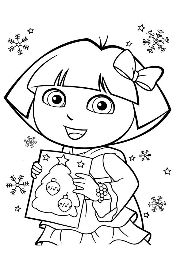dora and book of christmas tree in dora the explorer coloring page - Dora Coloring Pages