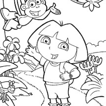 Dora and Boots Find the Right Path in Dora the Explorer Coloring Page