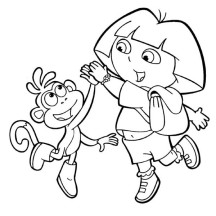 Dora and Boots High Five in Dora the Explorer Coloring Page