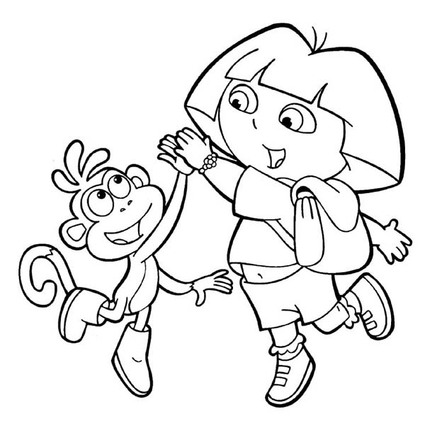 Dora And Boots High Five In Dora The Explorer Coloring