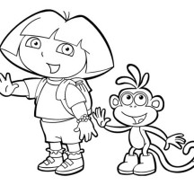 Dora and Boots Waving Hand in Dora the Explorer Coloring Page