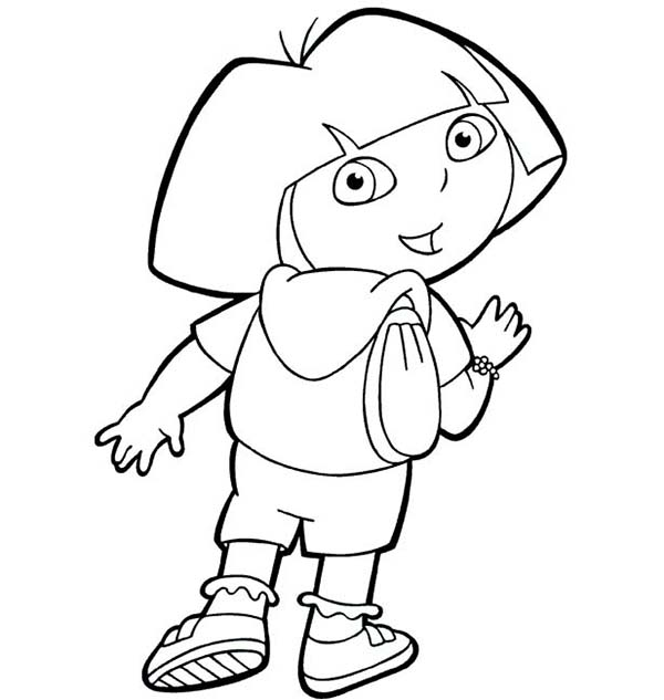 Dora and Her Backpack in Dora the Explorer Coloring Page NetArt