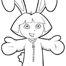 Dora in Bunny Costume in Dora the Explorer Coloring Page