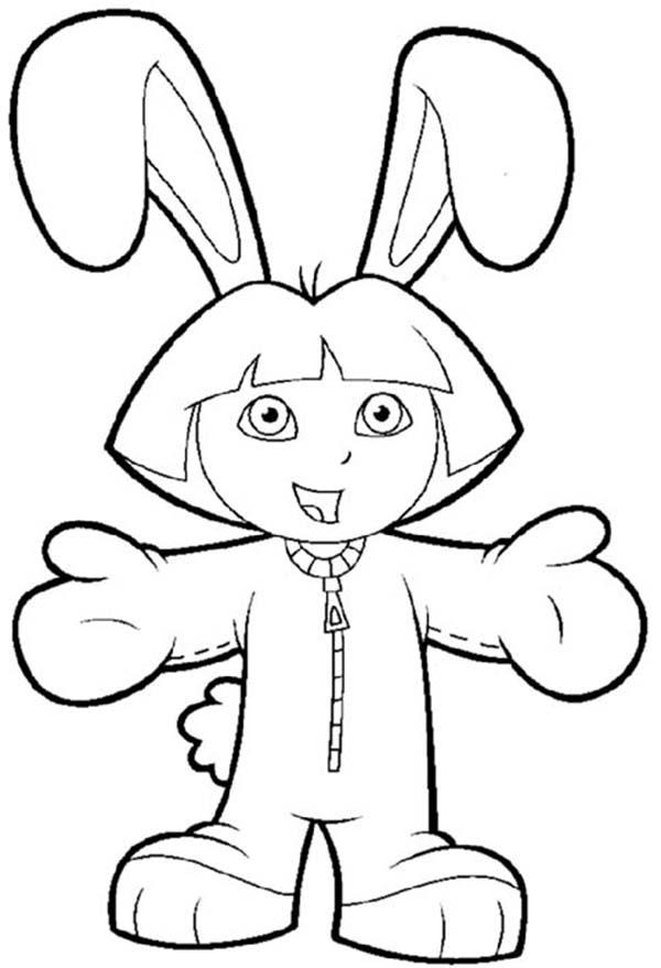 Dora in Bunny Costume in Dora the Explorer Coloring Page