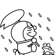 Doraemon Playing in the Rain with Frog Coloring Pages