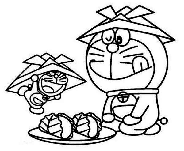 Doraemon and His Miniature Coloring Pages